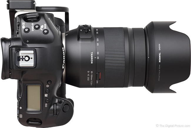 Tamron 35-150mm f/2.8-4 Di VC OSD Lens Top View with Hood