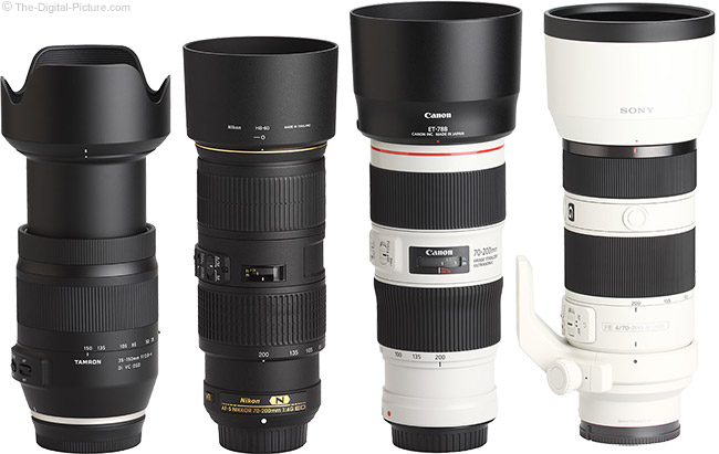 Tamron 35-150mm f/2.8-4 Di VC OSD Lens Compared to Similar Lenses with Hoods