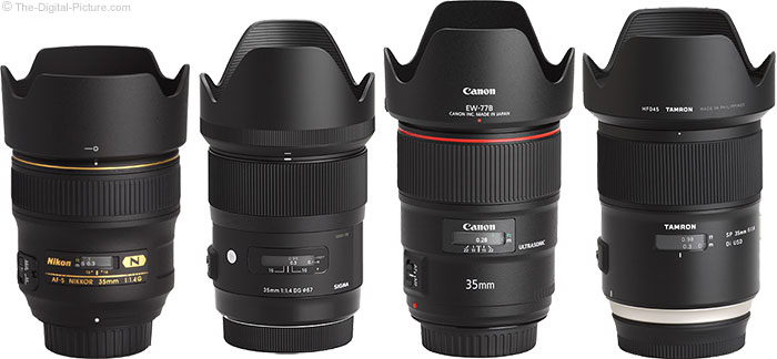 Tamron 35mm f/1.4 Di USD Lens Compared to Similar Lenses with Hoods