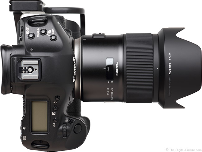 Tamron 35mm f/1.4 Di USD Lens Top View with Hood
