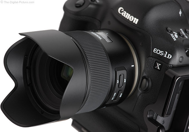 Tamron 35mm f/1.8 Di VC USD Lens Side Angle with Hood