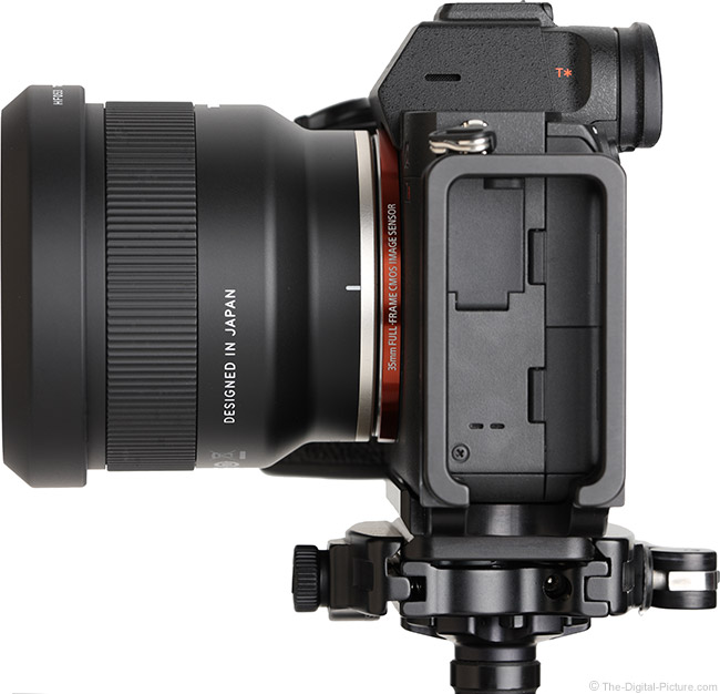 Tamron 35mm f/2.8 Di III OSD Lens Side View with Hood