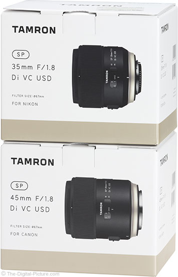 Tamron 35mm and 45mm f/1.8 Di VC USD Lens Boxes