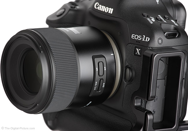 Tamron 45mm f/1.8 Di VC USD Lens Side Angle View with Hood