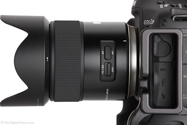 Tamron 45mm f/1.8 Di VC USD Lens Side View with Hood
