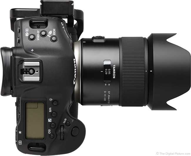 Tamron 45mm f/1.8 Di VC USD Lens Top View with Hood