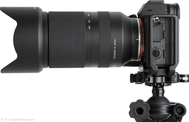 Tamron 70-180mm f/2.8 Di III VXD Lens Side View with Hood