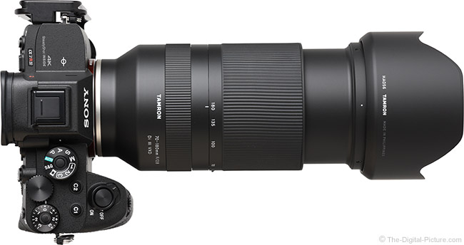 Tamron 70-180mm f/2.8 Di III VXD Lens Extended Top View with Hood