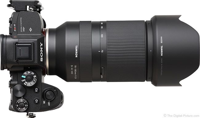 Tamron 70-180mm f/2.8 Di III VXD Lens Top View with Hood