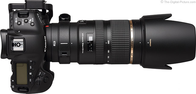 Tamron 70-200mm f/2.8 Di VC USD Lens - Top View with Hood