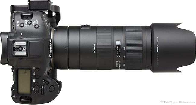 Tamron 70-210mm f/4 Di VC USD Lens Top View with Hood