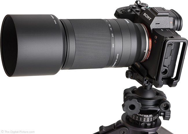 Tamron 70-300mm f/4.5-6.3 Di III RXD Lens Angle View with Hood