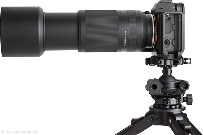 Tamron 70-300mm f/4.5-6.3 Di III RXD Lens Side View with Hood