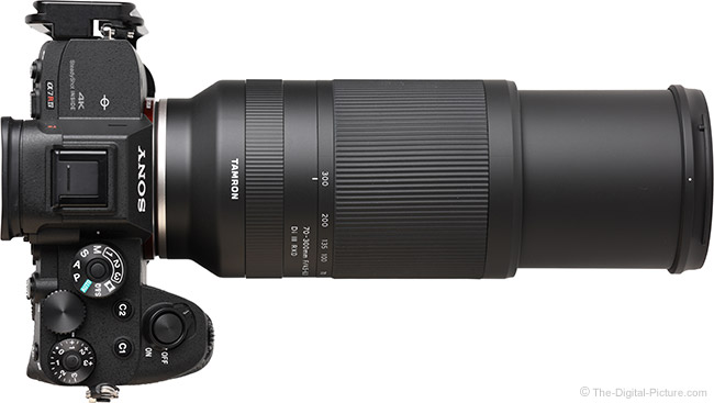 Tamron 70-300mm f/4.5-6.3 Di III RXD Lens Extended Top View