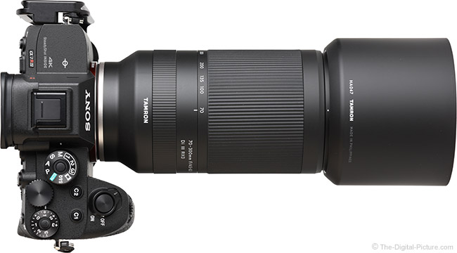Tamron 70-300mm f/4.5-6.3 Di III RXD Lens Top View with Hood