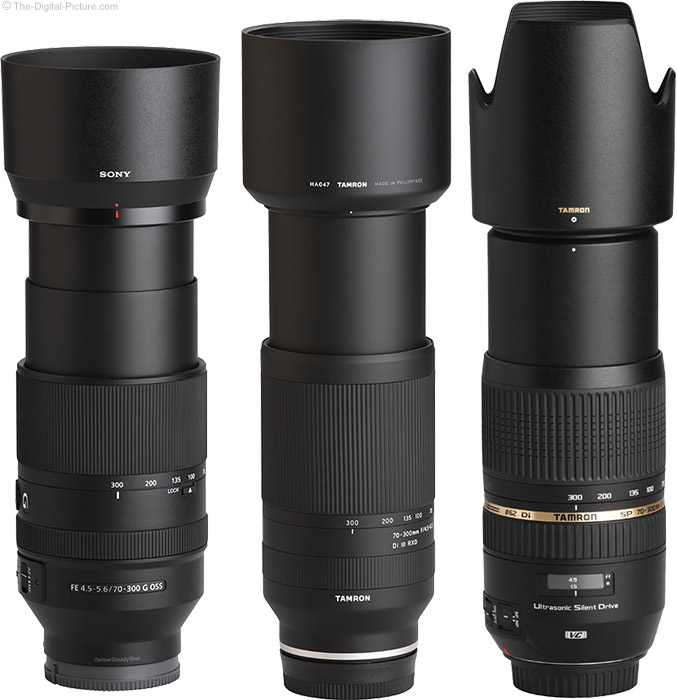 Tamron 70-300mm f/4.5-6.3 Di III RXD Lens Compared to Similar Lenses with Hoods