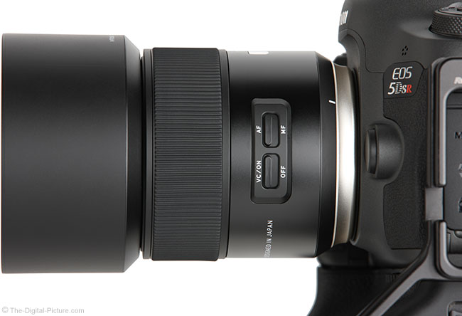 Tamron 85mm f/1.8 Di VC USD Lens Side View with Hood