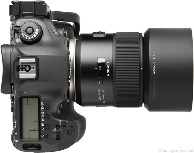 Tamron 85mm f/1.8 Di VC USD Lens Top View with Hood