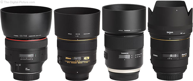 Tamron 85mm f/1.8 Di VC USD Lens Compared to Similar Lenses with Hoods