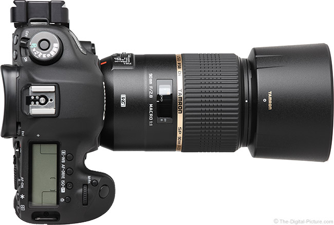 Tamron 90mm VC Macro Lens Top View with Hood