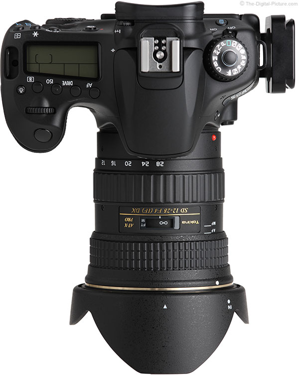 Tokina 12-28mm f/4.0 AT-X Pro DX Lens Top View with Hood