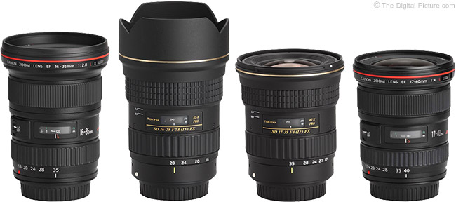 Tokina 16-28mm f/2.8 AT-X Pro FX Lens Compared to Similar Lenses