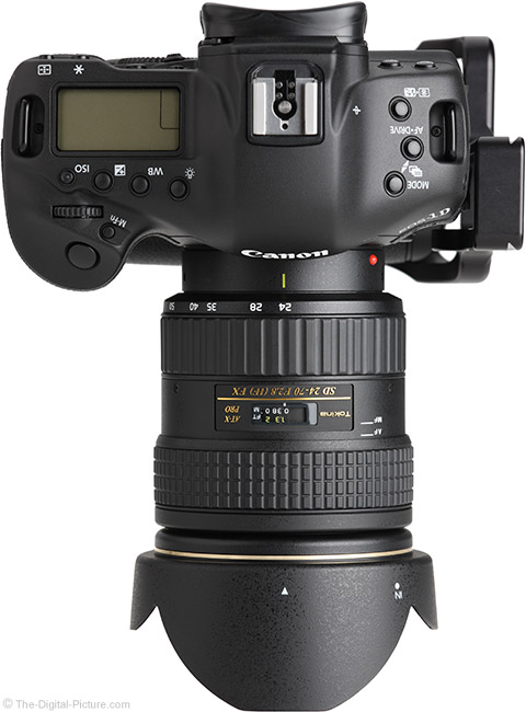 Tokina 24-70mm f/2.8 AT-X Pro FX Lens Top View with Hood