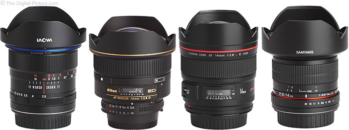 Venus Optics Laowa 12mm f/2.8 Zero-D Lens Compared to Similar Lenses with Hoods