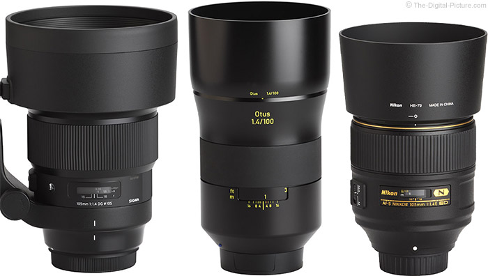 Zeiss 100mm f/1.4 Otus Lens Compared to Similar Lenses with Hoods