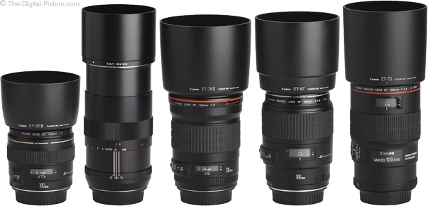 Zeiss 100mm f/2 Makro-Planar T* ZE Lens Compared to Similar Lenses - Extended with Hoods