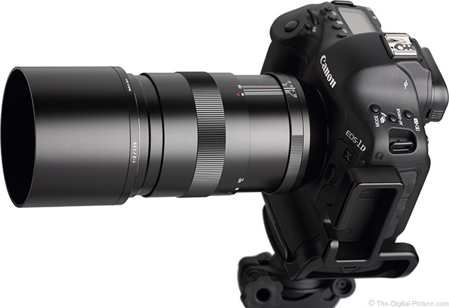 Zeiss 135mm f/2 Apo Sonnar T* ZE Lens on Camera, Extended, With Hood