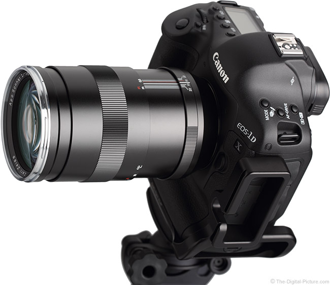 Zeiss 135mm f/2 Apo Sonnar T* ZE Lens on Camera, Extended, No Hood