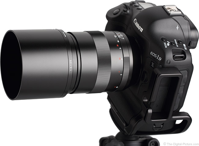 Zeiss 135mm f/2 Apo Sonnar T* ZE Lens on Camera, With Hood