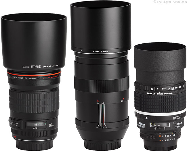 Zeiss Canon and Nikon 135mm Lenses with Hoods