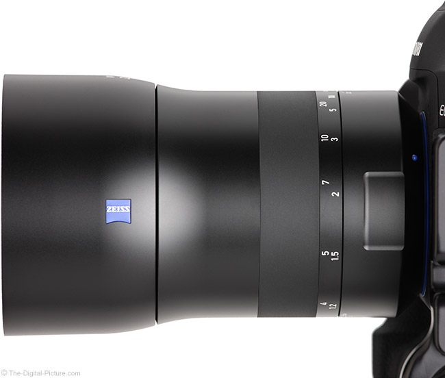 Zeiss 135mm f/2 Milvus Lens Side View with Hood