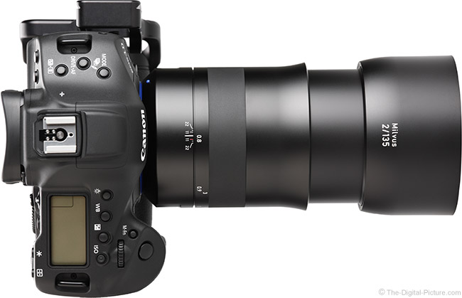 Zeiss 135mm f/2 Milvus Lens Extended Top View with Hood