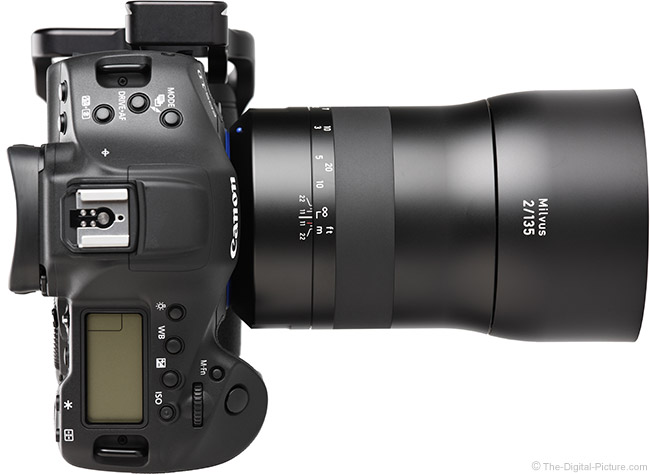 Zeiss 135mm f/2 Milvus Lens Top View with Hood