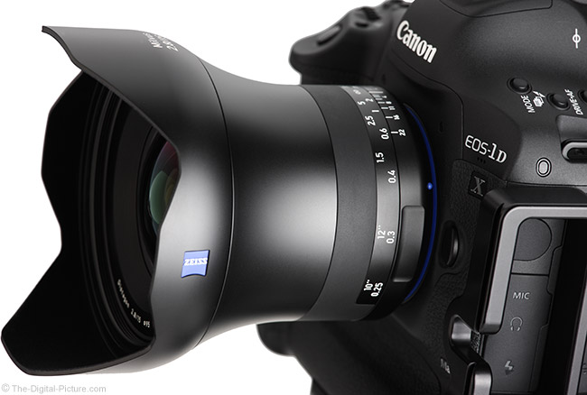 Zeiss 15mm f/2.8 Milvus Lens Angle View with Hood