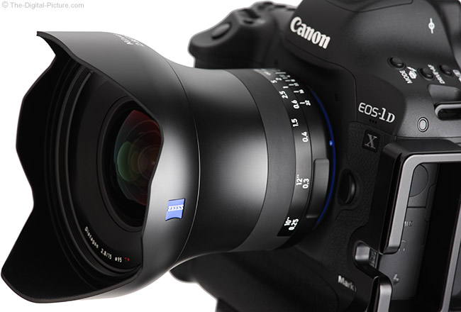 Zeiss 15mm f/2.8 Milvus Lens Front Angle View with Hood