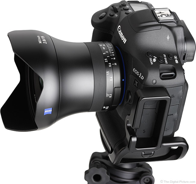 Zeiss 15mm f/2.8 Milvus Lens Top Angle View with Hood