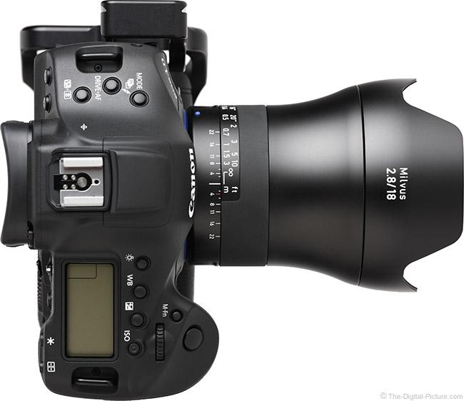 Zeiss 18mm f/2.8 Milvus Lens Top View with Hood