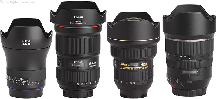 Zeiss 18mm f/2.8 Milvus Lens Compared to Similar Zoom Lenses with Hoods
