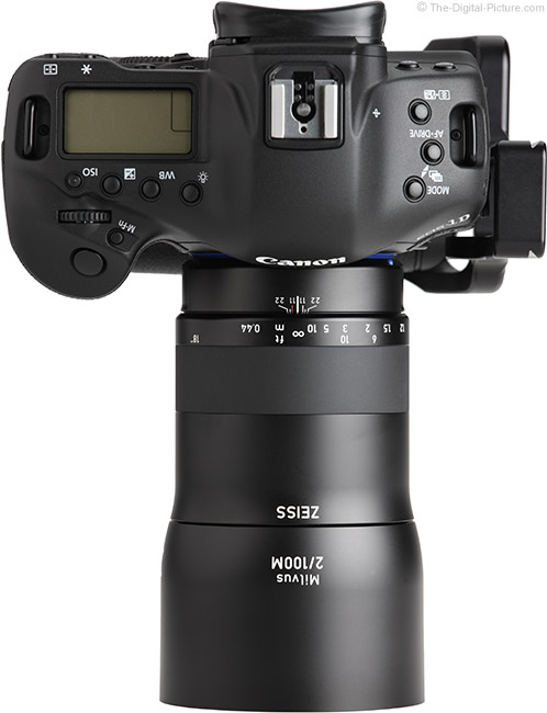 Zeiss Milvus 100mm f/2M Lens Top View with Hood