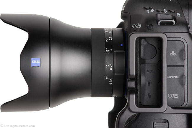 Zeiss Milvus 21mm Lens Side View with Hood