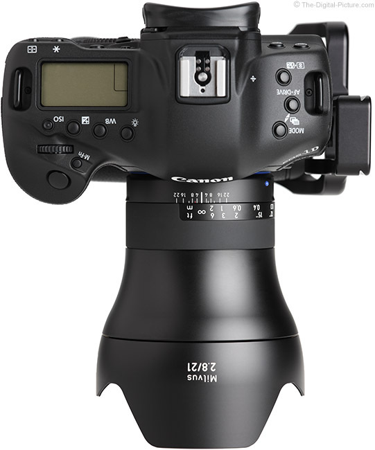 Zeiss Milvus 21mm Lens Top View with Hood