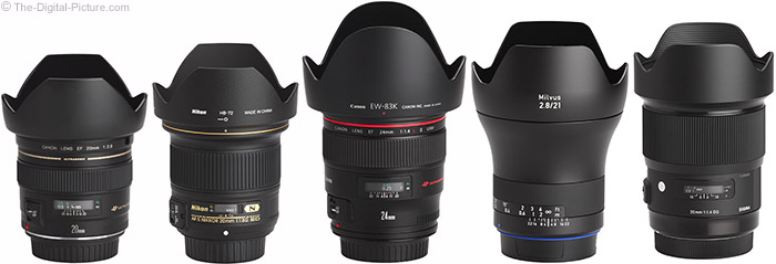 Zeiss Milvus 21mm f/2.8 Lens Compared to Similar Lenses with Hoods