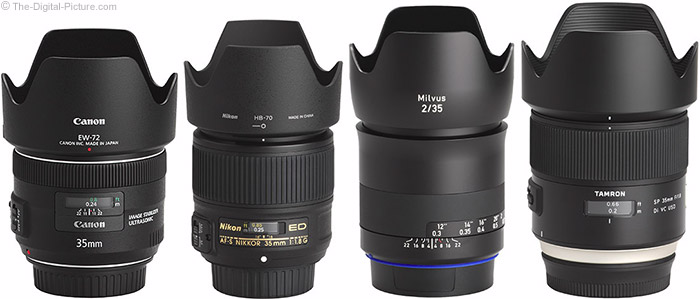 Zeiss Milvus 35mm f/2 Lens Compared to Similar Lenses with Hoods