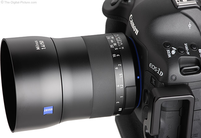 Zeiss Milvus 50mm f/1.4 Lens Angle View with Hood
