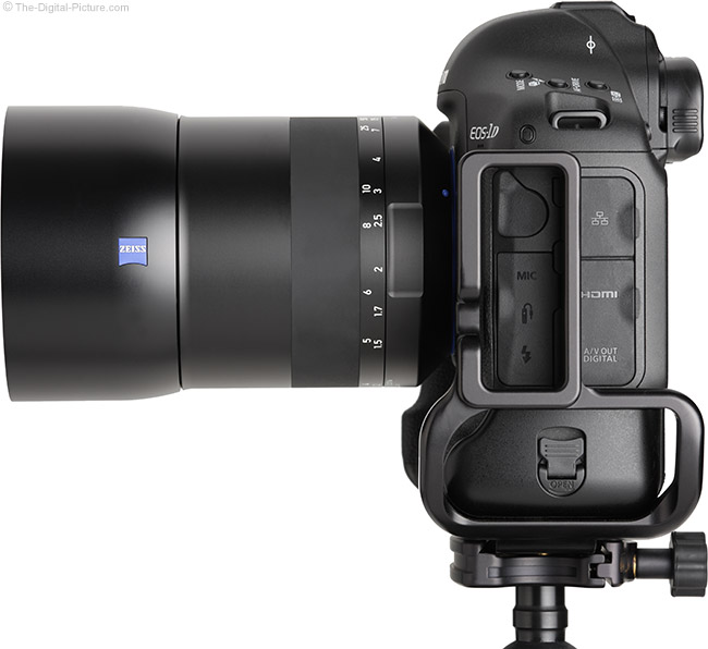 Zeiss Milvus 85mm f/1.4 Lens Side View with Hood