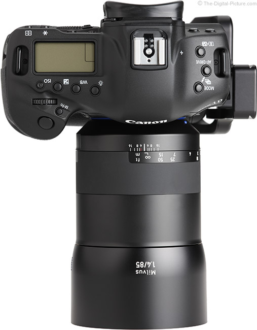 Zeiss Milvus 85mm f/1.4 Lens Top View with Hood